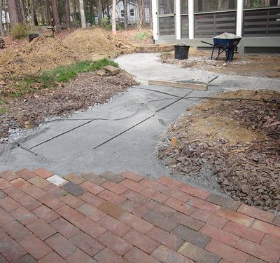 A new walkway to the screened porch