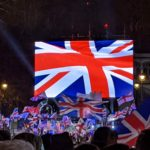 british flag displayed on screen during brexit celebration